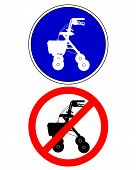 stock photo of rollator  - Detailed and colorful illustration of walking frame traffic signs - JPG