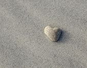 Heart Shaped Rock On Beach