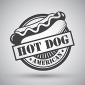picture of wiener dog  - American hot dog bread sausage mustard emblem vector illustration - JPG
