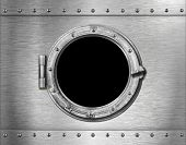 ship or submarine window metal background