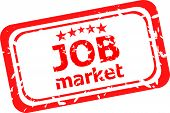 Words Job Market On Red Rubber Stamp Isolated On White
