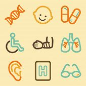 Medicine web icons set in retro style