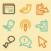Internet web icons set in retro style