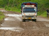 Kibiti, Tanzania - Desember 2, 2008: A Truck Traveling On The Road.