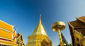 CHIANGMAI, THAILAND - DECEMBER 30, 2013: Golden Pagoda Of Wat Phra Tard Doi Su Thep