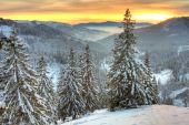 pic of winter landscape  - Winter landscape in Carpathian mountains  in Romania - JPG