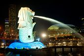 Merlion In Singapore At Night