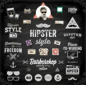 Hipster style infographics elements and icons set for retro design. Chalkboard background. Black illustration variant.