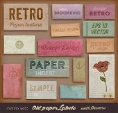 Scrapbooking set. Old paper textures, Different Aged Paper Elements Collection for Your Layouts. Eng