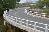 Curved road bridge