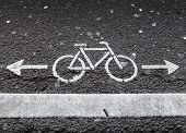 Bicycle Lane. White Road Marking With Arrows On Dark Asphalt