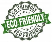 Eco Friendly Green Grunge Retro Style Isolated Seal