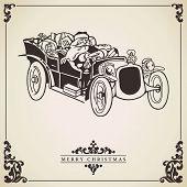 Santa Claus Driving A Car. Christmas Card.