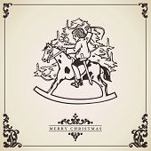 Christmas Card Vector. Child Playing Whith Toy Horse.