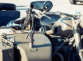 foto of sidecar  - Detail of machine gun mounted on the veteran sidecar - JPG