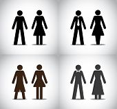 Well Dressed Man Woman Or Boy Girl Standing Concept Symbols Set