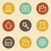 Data web icons, retro circle buttons