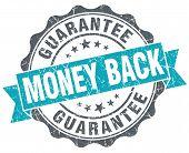 Money Back Blue Grunge Retro Style Isolated Seal
