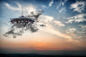 stock photo of flying saucer  - Illustration of an ufo spaceship while flying in the sky - JPG