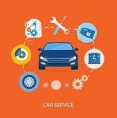 Постер, плакат: Auto Mechanic Service Flat Icons Of Maintenance Car Repair