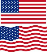 Flat and waving American Flag. Vector