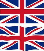 Flat and waving British Flag. Vector