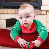 foto of santa baby  - Adorable baby boy in santa clothes with christmas decoration - JPG