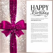 stock photo of birthday  - Birthday card with pink ribbon and birthday text - JPG