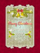 Christmas  Card With Decorative Ornament, Vector Illustration