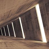 Abstract Concrete 3D Interior Perspective With Light Stripes