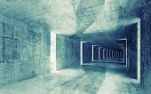 3D Render, Green Blue Toned Abstract Empty Concrete Interior Background