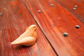 Wooden Table And Bird