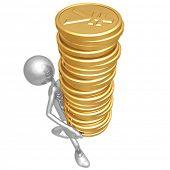 Gold Yen Coins Tower