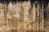 Old Rusty Concrete Wall Texture With Black Flows
