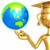 Golden Grad With World