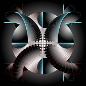 Graphical Composition With Spiral Elements On Black Background