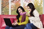 Two Asian Girl With Laptop On Sofa