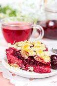 Cherry Pie With Cup Of Tea Karkade