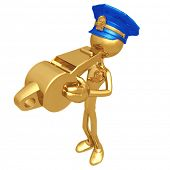 Golden Police Officer Blowing Whistle