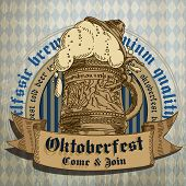 image of drawing beer  - big mug of beer foam and the inscription Oktoberfest - JPG