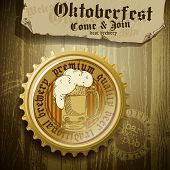 stock photo of drawing beer  - announcement of the festival Oktoberfes on a wooden board and cork from beer bottles - JPG