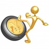 Kicking The Gold Yen Tire