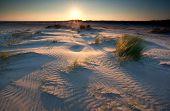 Sunrise Over Sand Dunes On North Sea Coast