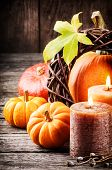 Autumn Still-life Pumpkins And Candles