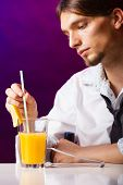 foto of over counter  - Young stylish man bartender preparing serving alcohol cocktail drink over bar counter - JPG
