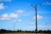 Electric Lines At Blue Sky