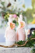 foto of wedding feast  - Floral arrangement to decorate the wedding feast the bride and groom - JPG