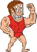 Bodybuilder Flexing Muscles Cartoon