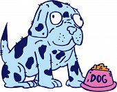 picture of spotted dog  - Illustration of a spotted dog with pet food bowl on isolated white background done in cartoon style - JPG
