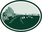picture of southwest  - Illustration of the Avebury neolithic henge monument containing three stone circles around the village of Avebury in Wiltshire in southwest England set inside oval done in retro woodcut style - JPG